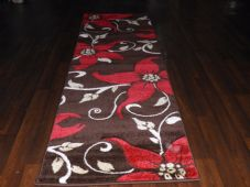 Runners 60x220cm Aprox 8ft Hand Carved Super Quality Lily Brown/Red No shedding
